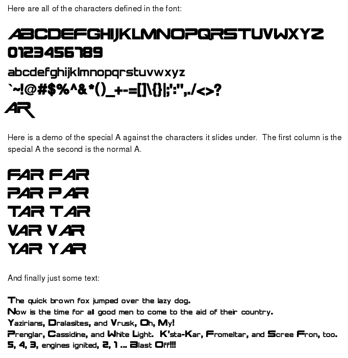 Star Frontiers Font Sample